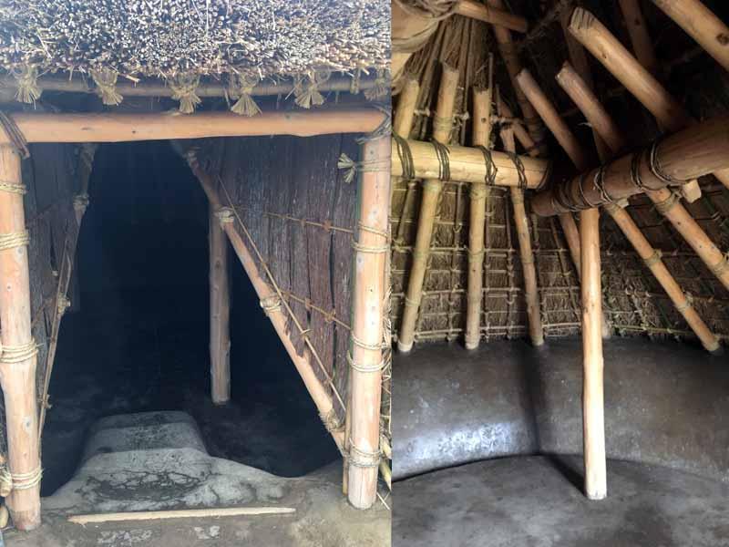 弥生時代竪穴住居出入口と内部